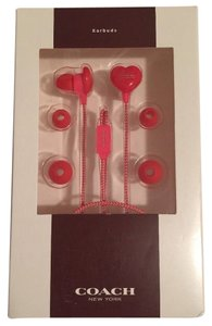 Coach COACH Red & Pink Heart Shape Head Phone Earbuds - 3 Sleeves 66958 New in Box