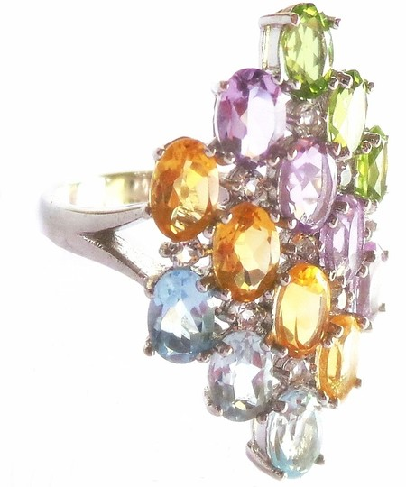 Other Natural Amethyst, Peridot, Citrine & Topaz Sterling Ring