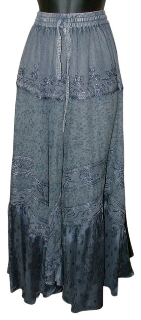 Independent Hippie Designer Boho Embroidered Festival Skirt Blue