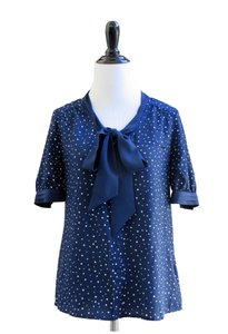 Jason Wu for Target Button Down Tie Polka Dot Navy White Shirt Top Blue
