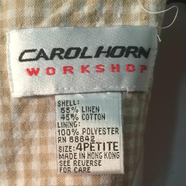 Carol Horn workshop short dress Cream Tan Lined Size 4 Work Date Party Cream White Checked Checkered on Tradesy