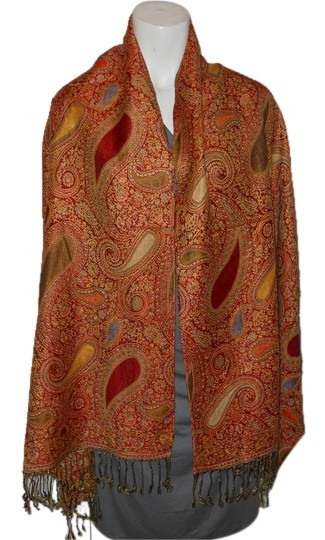 Preload https://img-static.tradesy.com/item/8506975/red-and-gold-paisley-fringed-scarfwrap-0-2-540-540.jpg