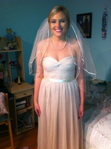 Ivory Medium Double-tiered with Ribbon Trim Bridal Veil