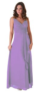 Purple Chiffon Long Draping V-neck Size:small Formal Bridesmaid/Mob Dress Size 4 (S)