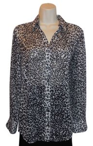 Chico's Animal Print Leopard Button Down Shirt Multi-Color