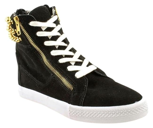 Item - Black Suede Gold Studs Next Level Spike Sneakers Size US 8