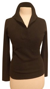 Neiman Marcus V-neck Roll Collar Cashmere Sweater