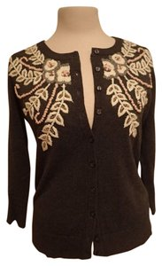 Anthropologie Embroidered Beaded Cotton Cardigan