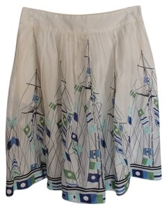 Lands' End Nautical Retro Vintage Skirt White Blue Green