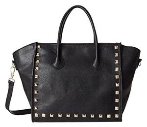 KC Jagger Studded Leather Biker Satchel in Black