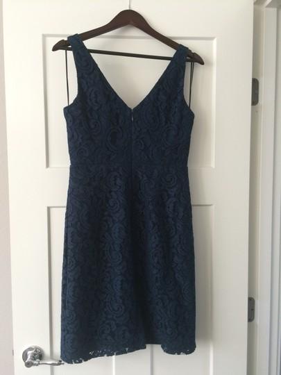 J.Crew Acropolis Blue Lace Sara In Leaver's Traditional Bridesmaid/Mob Dress Size 8 (M) Image 3