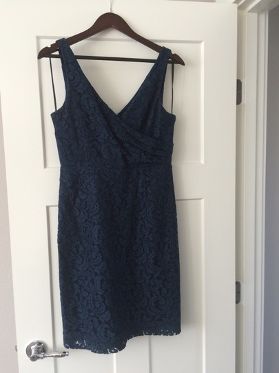 J.Crew Acropolis Blue Lace Sara In Leaver's Traditional Bridesmaid/Mob Dress Size 8 (M) Image 4