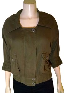 Rubbish Cropped Size Medium Olive Button Front Half Sleeves P1829 green Jacket