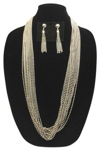 Vintage Ball-Chain Necklace and Earring ( Pierced & Non-Pierced Convertible Kit ) Set [ Roxanne Anjou Closet ]