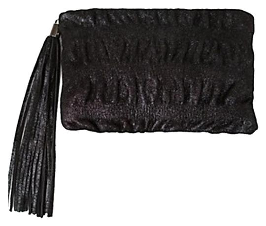Preload https://img-static.tradesy.com/item/8512240/ruched-black-metallic-leather-clutch-0-2-540-540.jpg