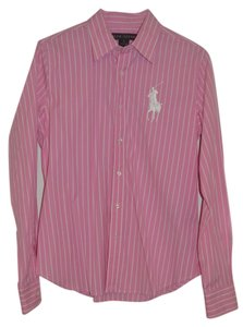Ralph Lauren Black Label Logo Polo Striped Long Sleeve Button Front Button Down Shirt Pink