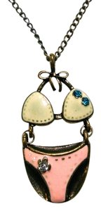 New Swim Suit Pendant Necklace Antiqued Gold Pink White J1496 Summersale