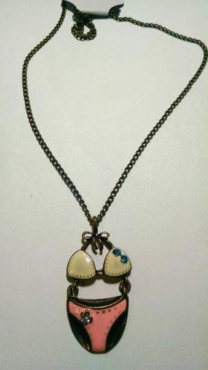 Other New Swim Suit Pendant Necklace Antiqued Gold Pink White J1496 Image 1