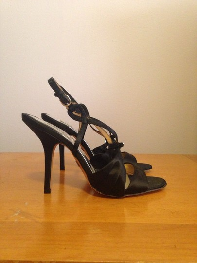 Badgley Mischka Black Satin Sandals
