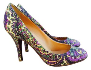 J.Crew Printed Purple with green, yellow, black, and pink Pumps