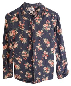 Billabong Navy Feminine Button-down Country Top Navy Floral