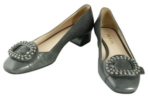 Prada Vintage Grey Square Heel Pumps