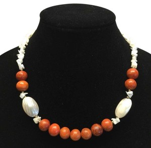 Genuine Coral & Mother of Pearl Vintage Necklace [ Roxanne Anjou Closet ]