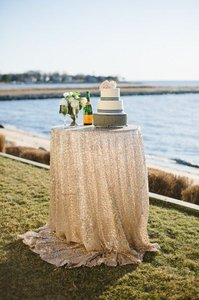 Ivory 120' Round Sequin Bling Glam Sparkle Tablecloth