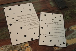 Set Of 100 Poka Dot Invitations And Rsvps