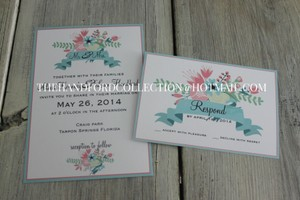 Set Of 100 Floral Pastel Invitations And Rsvps