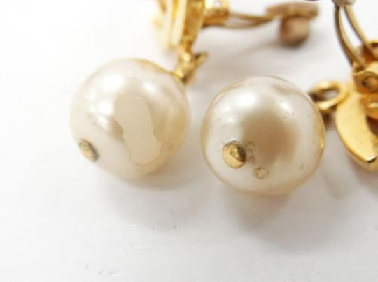 Chanel Auth CHANEL Earrings CC logos Faux Pearl Gold tone DROP DANGLE Clip-On 96P Image 6
