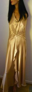 Narianna Gold Poly Gown * Evening Satin * Rhinestone Buckle * Formal Bridesmaid/Mob Dress Size 8 (M)