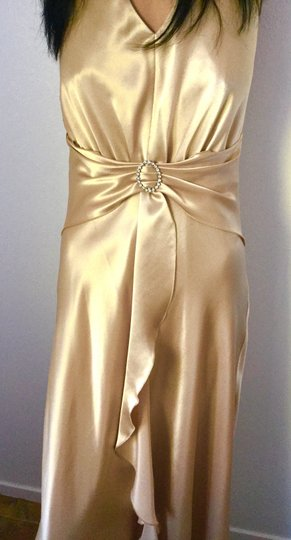 Narianna Gold Poly Gown * Evening Satin * Rhinestone Buckle * Formal Bridesmaid/Mob Dress Size 8 (M) Image 1