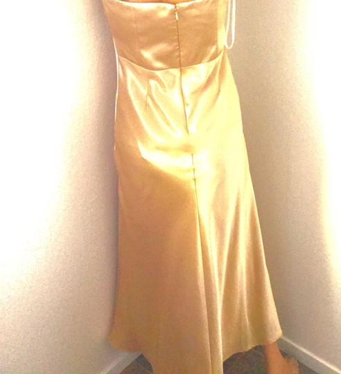 Narianna Gold Poly Gown * Evening Satin * Rhinestone Buckle * Formal Bridesmaid/Mob Dress Size 8 (M) Image 3