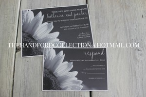 Set Of 100 Black And White Sunflower Invite And Rsvp