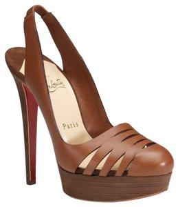 Christian Louboutin Leather Laser Cut Slingback Round Toe 38 7.5 Platform Altimaya 140 Cognac Brown Pumps