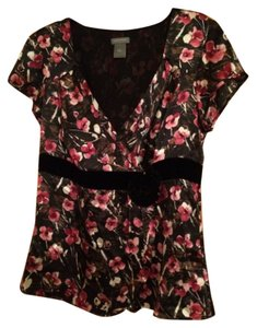 Ann Taylor Top Black and jewel tone flowers.