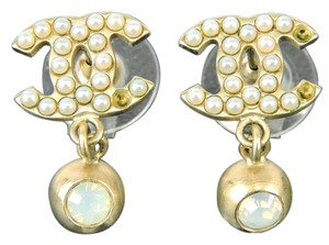 Chanel AUTH CHANEL GOLDTONE FAUX PEARL CC STONE DANGLE PIERCED EARRINGS 03A MADE ITALY