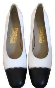 Salvatore Ferragamo White leather with black toes Pumps