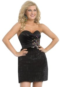 Party Time Formals 6875 Cocktail Hand Beaded Polyester Satin Christmas New Years Dress
