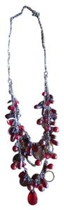 Very nice quality gun metal and deep red 3 tear drop necklace