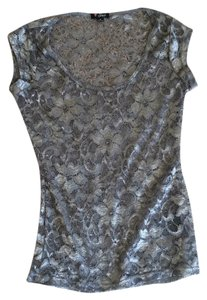 Guess Lace Gray Silver Top