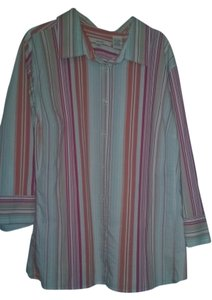 Merona Button Down Shirt Red, Orange, striped