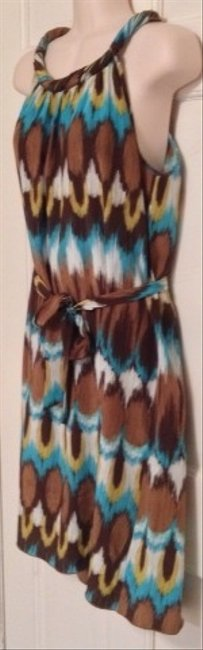 Banana Republic short dress Brown Turquoise White on Tradesy