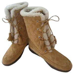 Coach Camel Shearling Suede Lace Up tan camel Boots