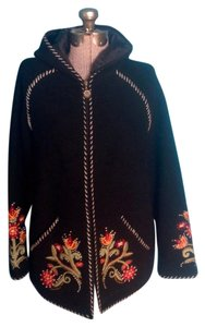 Icelandic Design Wool Hood Floral Black Jacket
