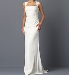 Nicole Miller Bridal Antique White Silk Taryn Cutout Lace Back Crepe Di0014 Destination Wedding Dress Size 6 (S)
