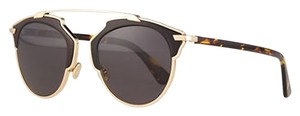 Dior So Real 48mm Leather-Trim Mirrored Sunglasses Gold Black Havana/Grey
