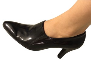 Franco Sarto Patent Leather Bootie Ankle Work Pointed Toe Black Pumps