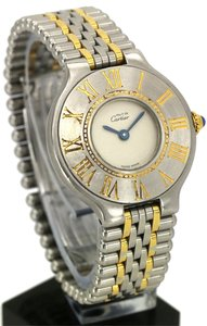 Cartier STYLISH CARTIER STAINLESS STEEL GOLD TONE LADIES MUST DE CARTIER WRIST WATCH